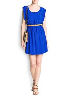 Embossed belt dress