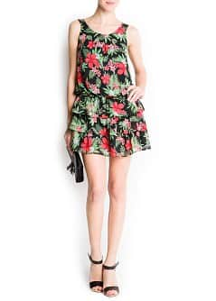 Hawaiian print dress ruffles