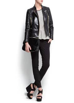 Blouson biker cuir zipp