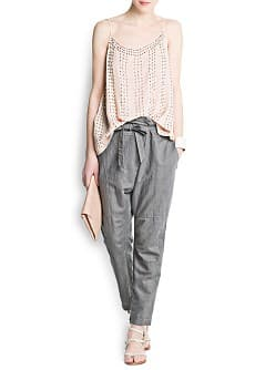 Linen cotton-blend wrapped baggy trousers
