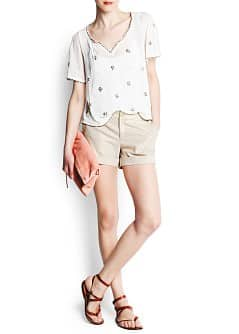 Linen cotton-blend metallic shorts