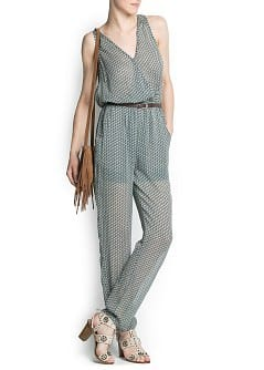 Printed crossed chiffon jumpsuit