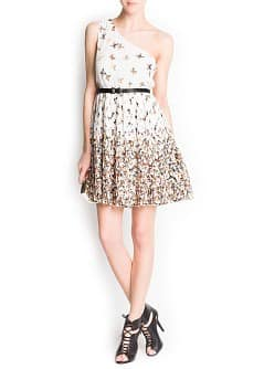 Butterfly print asymmetric dress