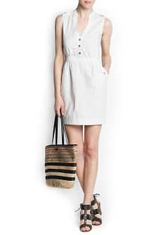 Linen cotton-blend shirt dress