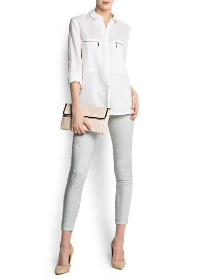 Zipped ramie blouse