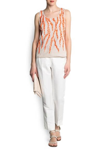 Coral motifs sequined top
