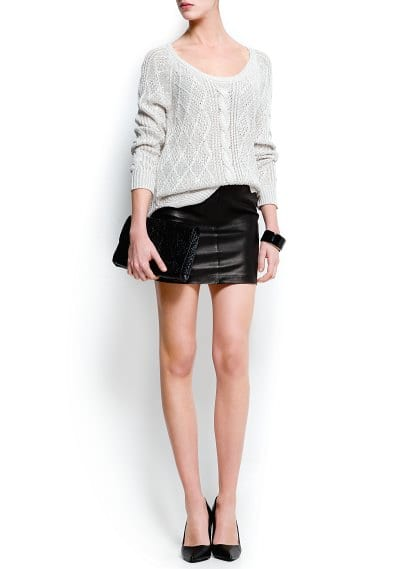 Chain trimmed leather skirt