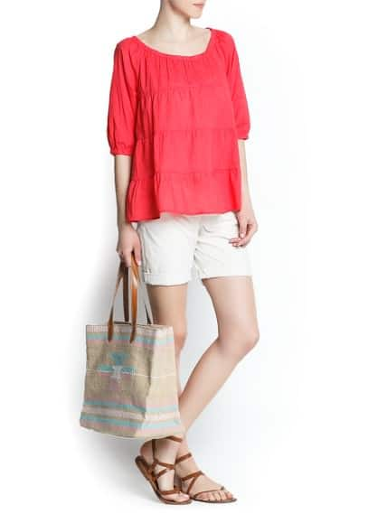 Paneled cotton blouse