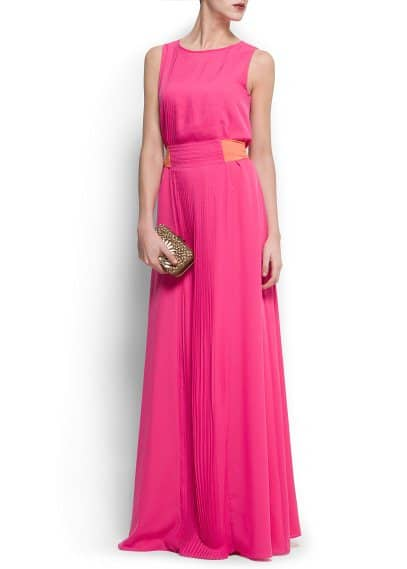 Pleated panel gown