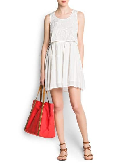 Embroidered pleated cotton dress