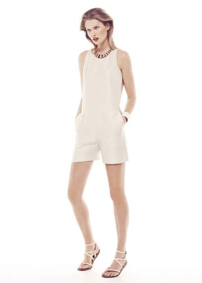 Textured satin short jumpsuit
