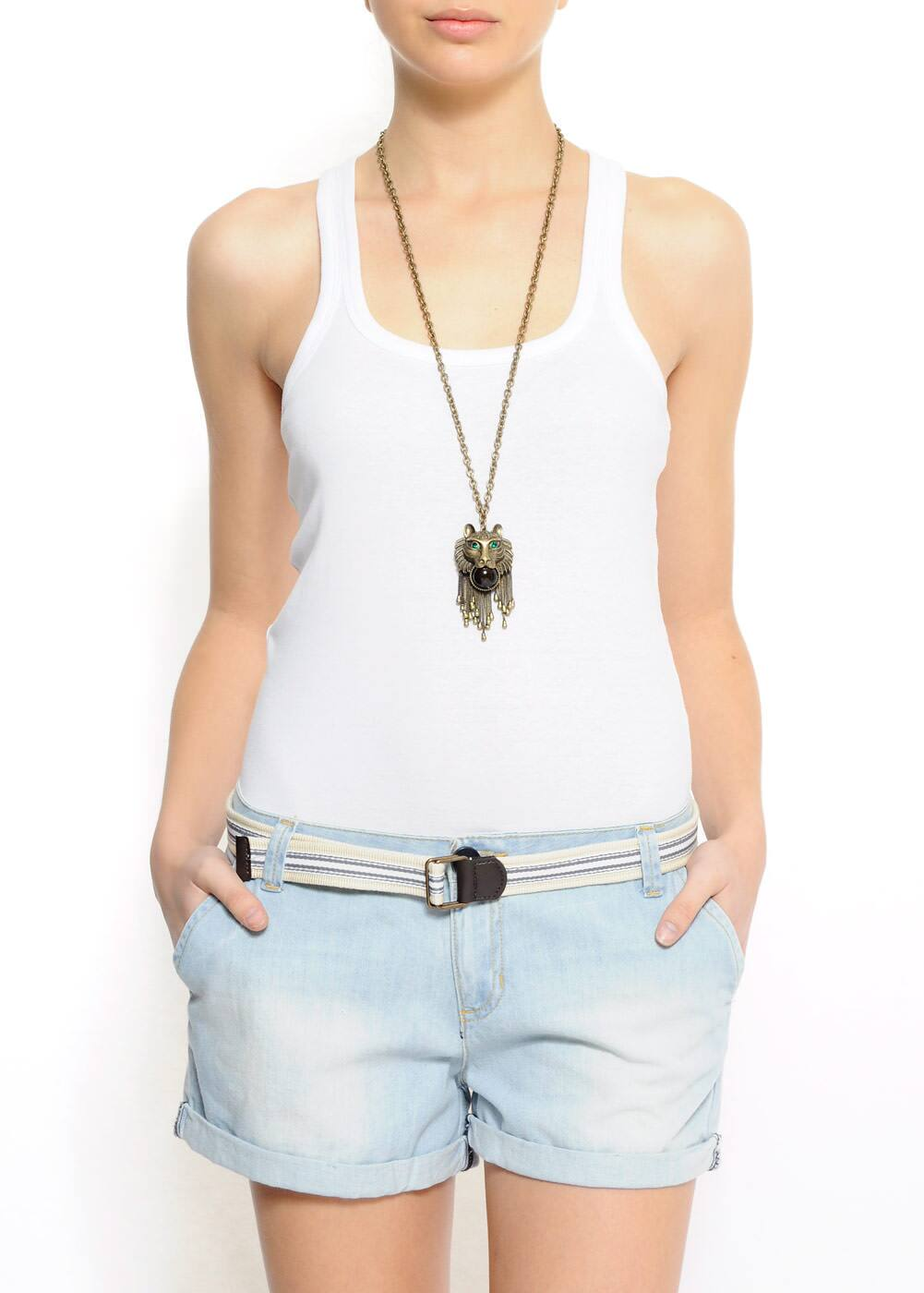 Slim-fit racerback sleeveless t-shirt