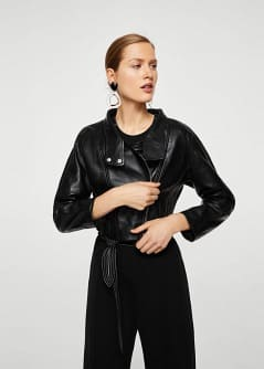 Leather aviator jacket - Woman | MANGO Montenegro