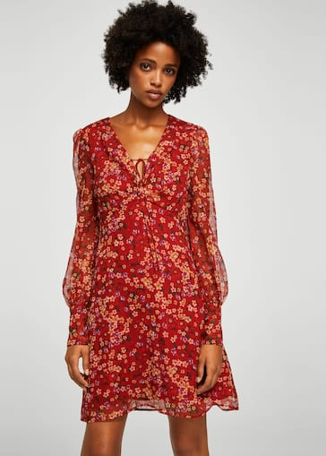 bffd1716c5a2 Floral chiffon dress - Women | Mango United Kingdom