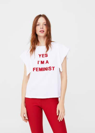 c7aaf58361ef Message cotton t-shirt - Woman | Mango Canada