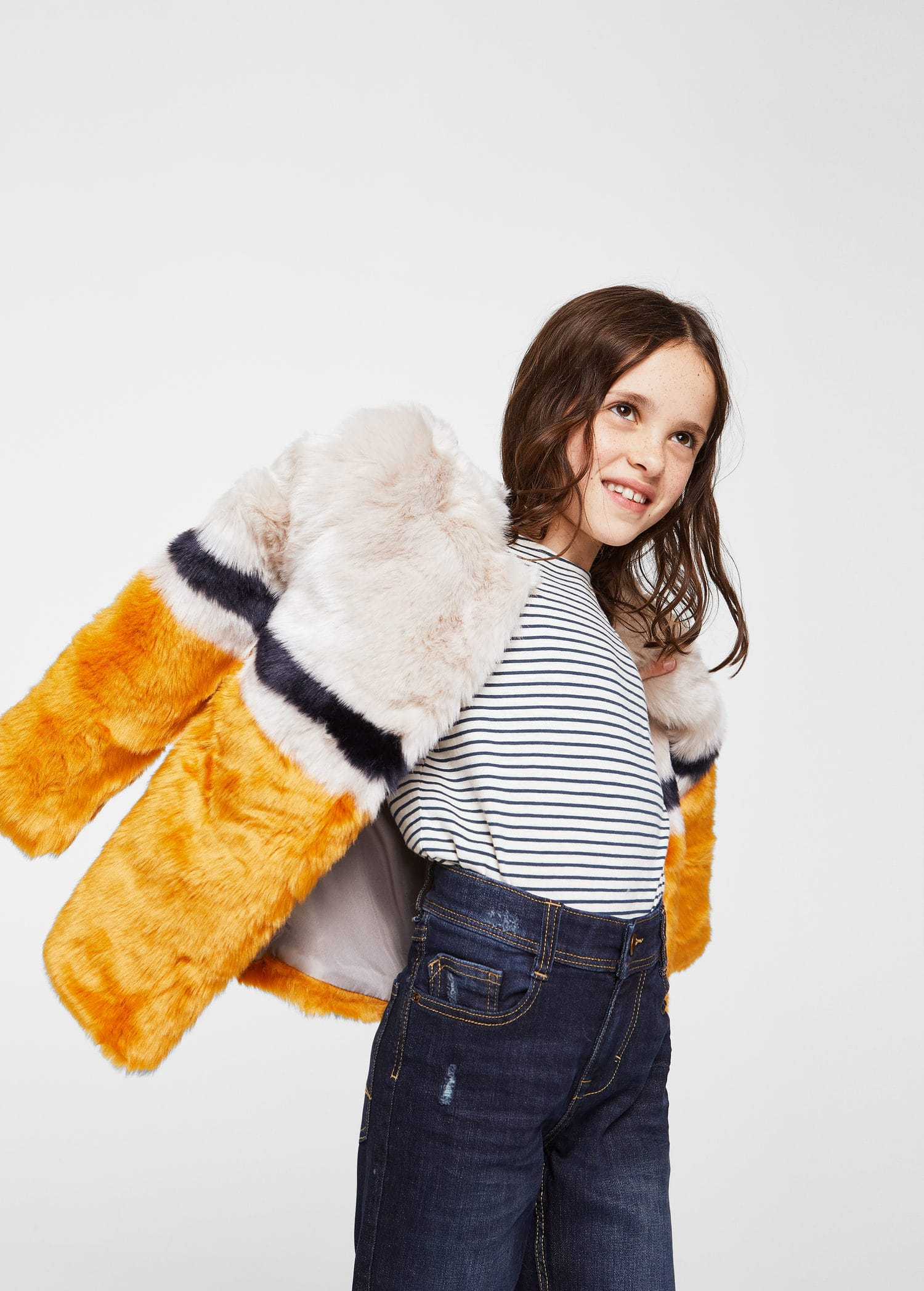 Manteau en fausse fourrure tricolore Fille | Mango Kids France