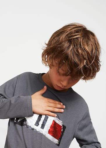 77b47dd9c Reversible sequins t-shirt - Boys | Mango Kids Norway