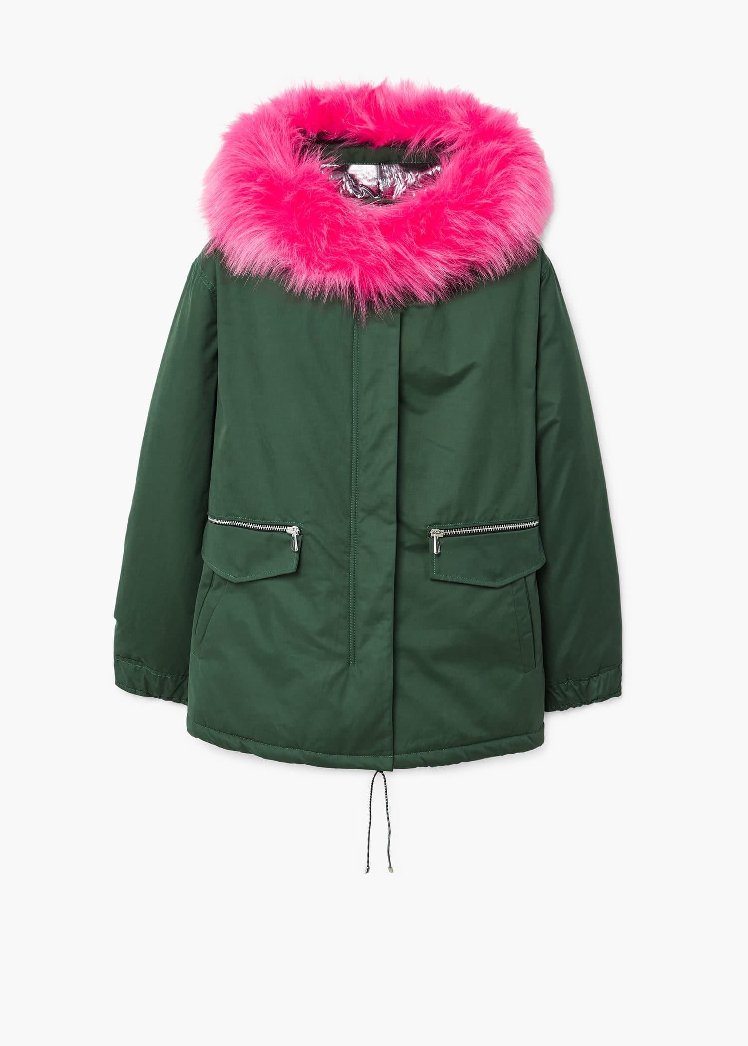 Contrast hooded parka jacket