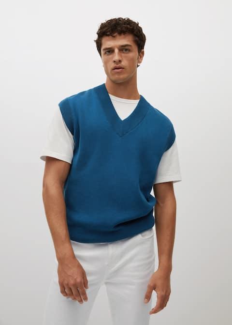 V-neck knitted gilet - Medium plane