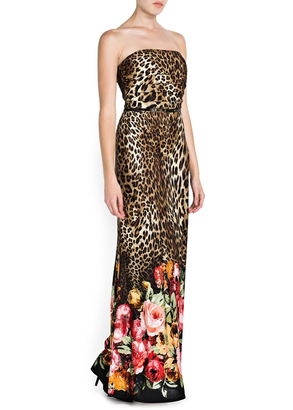 Printed strapless gown   MANGO