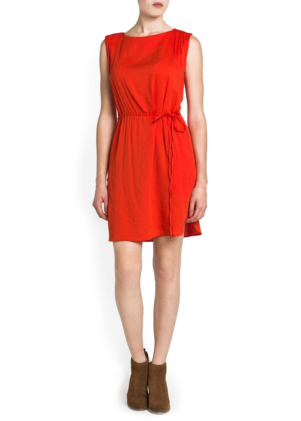 Drawstring draped shoulders dress | MANGO