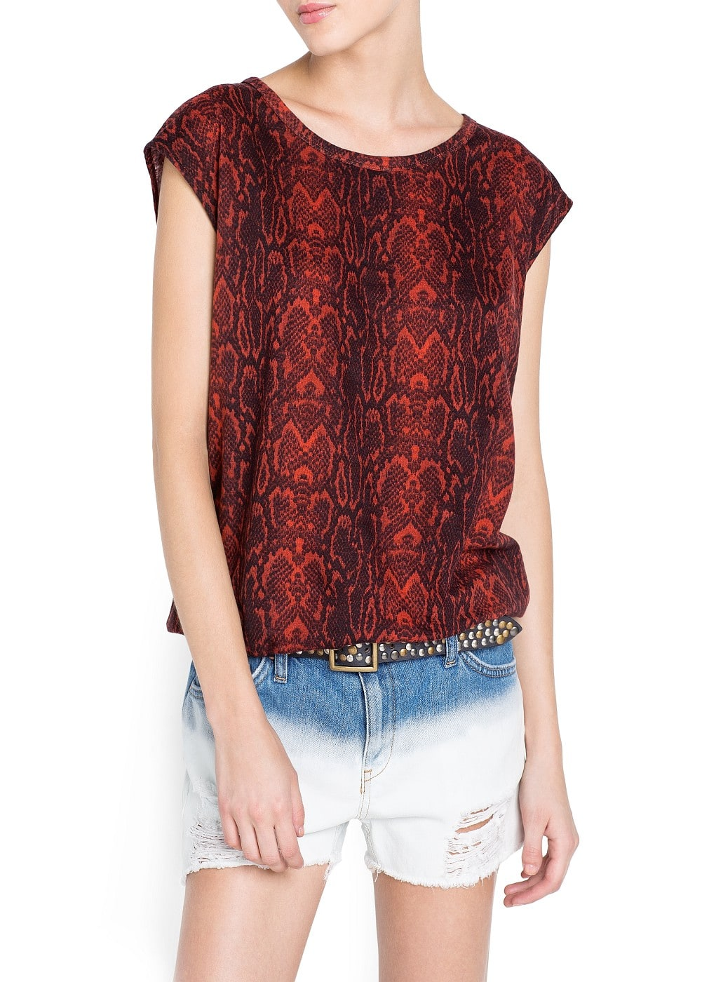 Snake print cotton t-shirt | MANGO