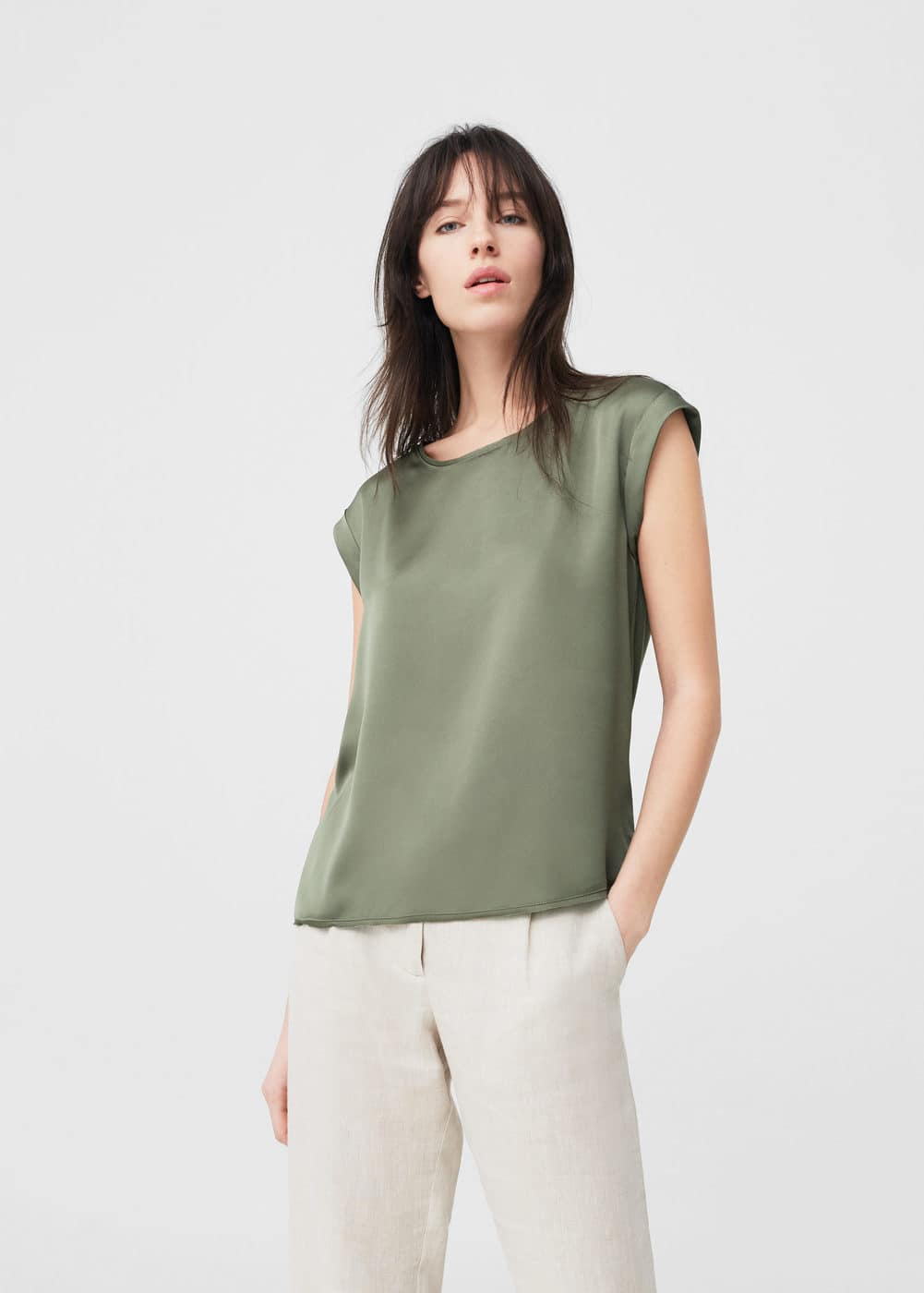 Satin panel t-shirt | MANGO