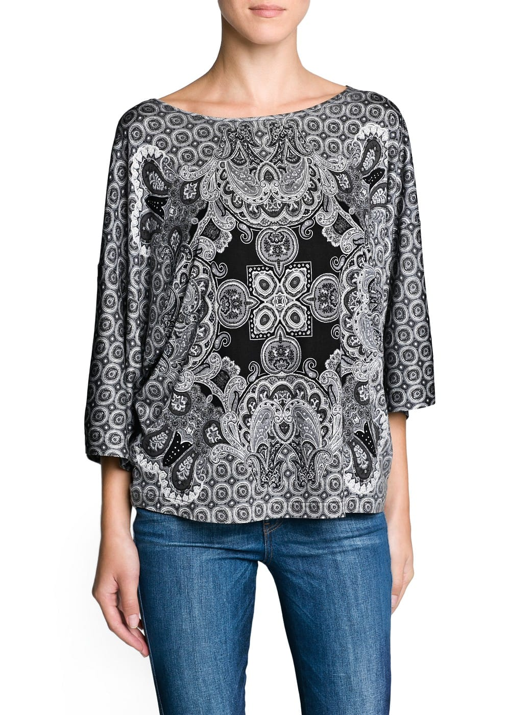 Loose-fit baroque print t-shirt | MANGO