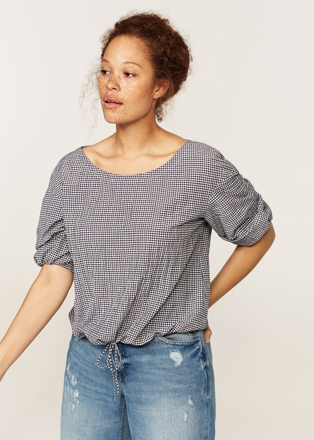 Gingham check blouse | VIOLETA BY MANGO