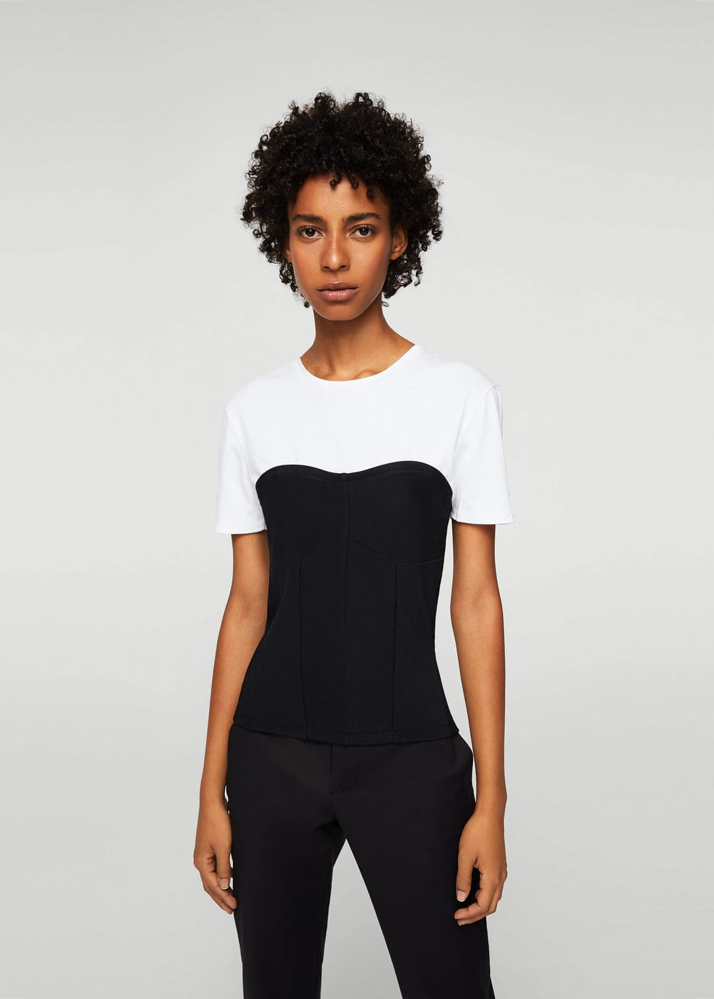 T-shirt with corset | MANGO