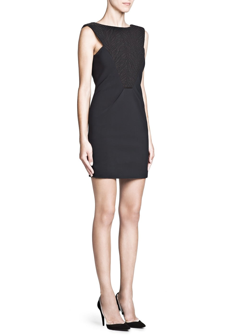 Premium - jacquard panel structured dress | MANGO