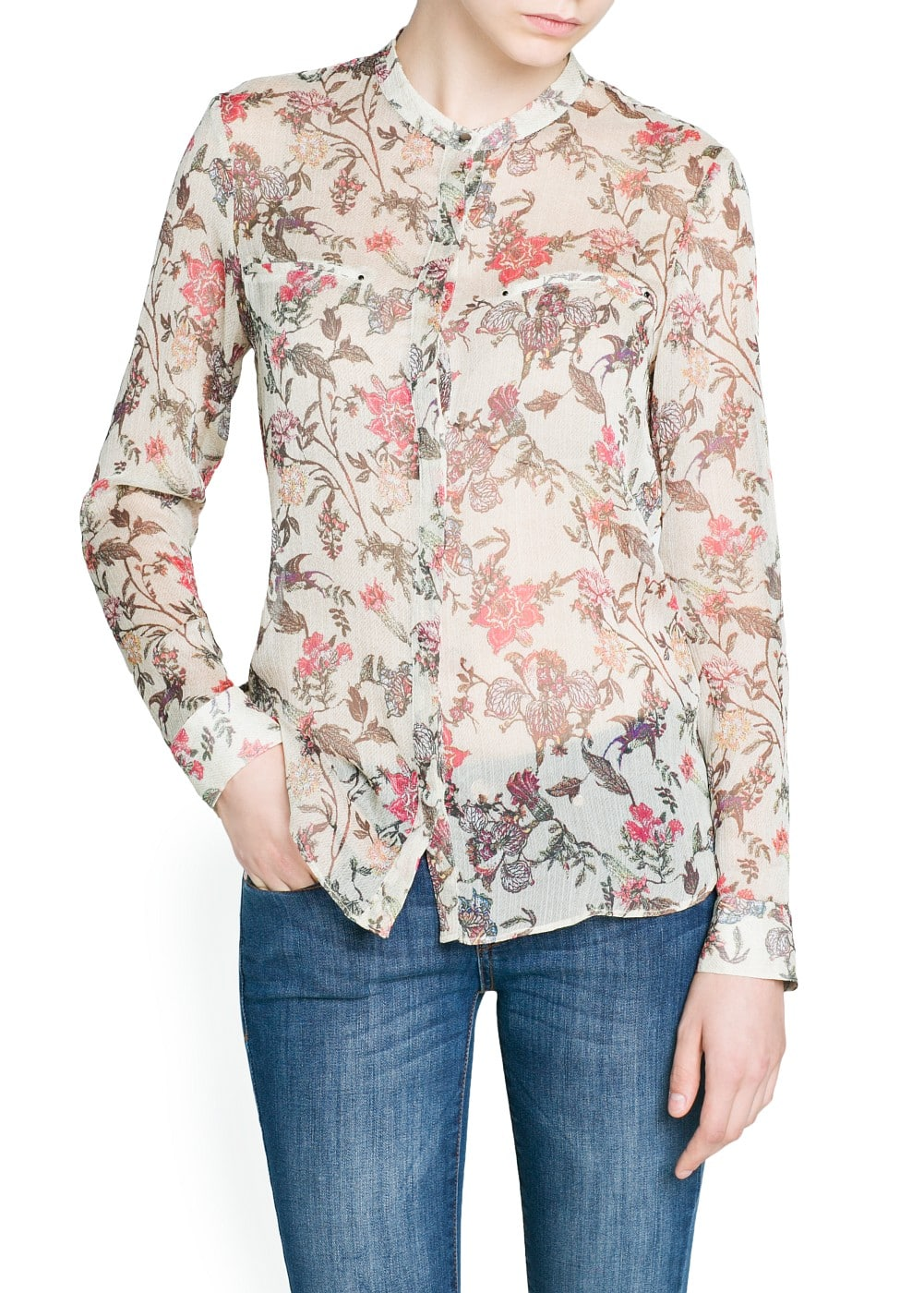 Pleated chiffon floral blouse | MANGO