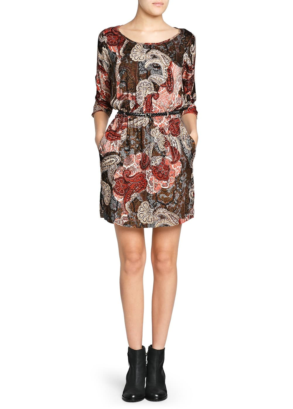 Paisley print flowy dress | MANGO
