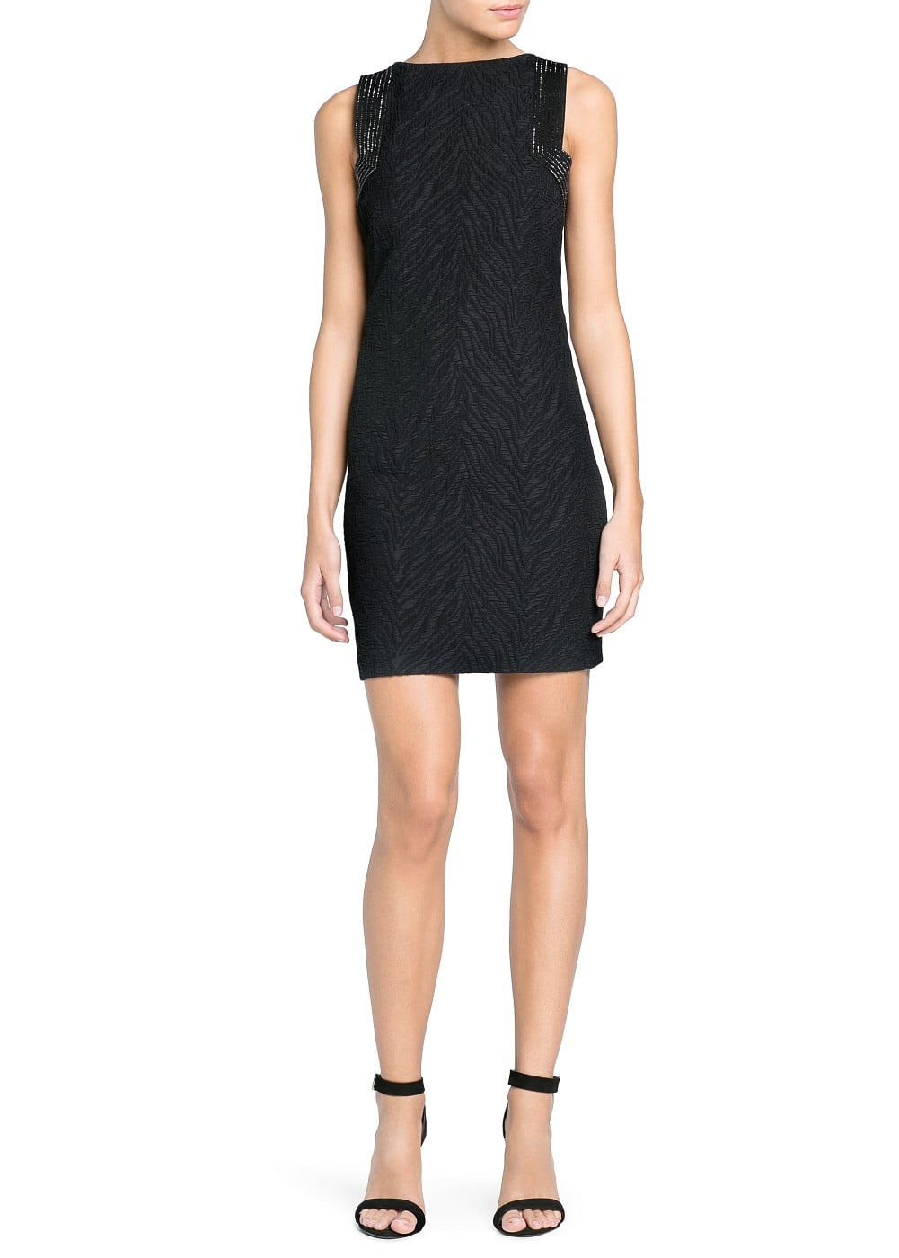 Premium - rhinestone panel jacquard dress | MANGO