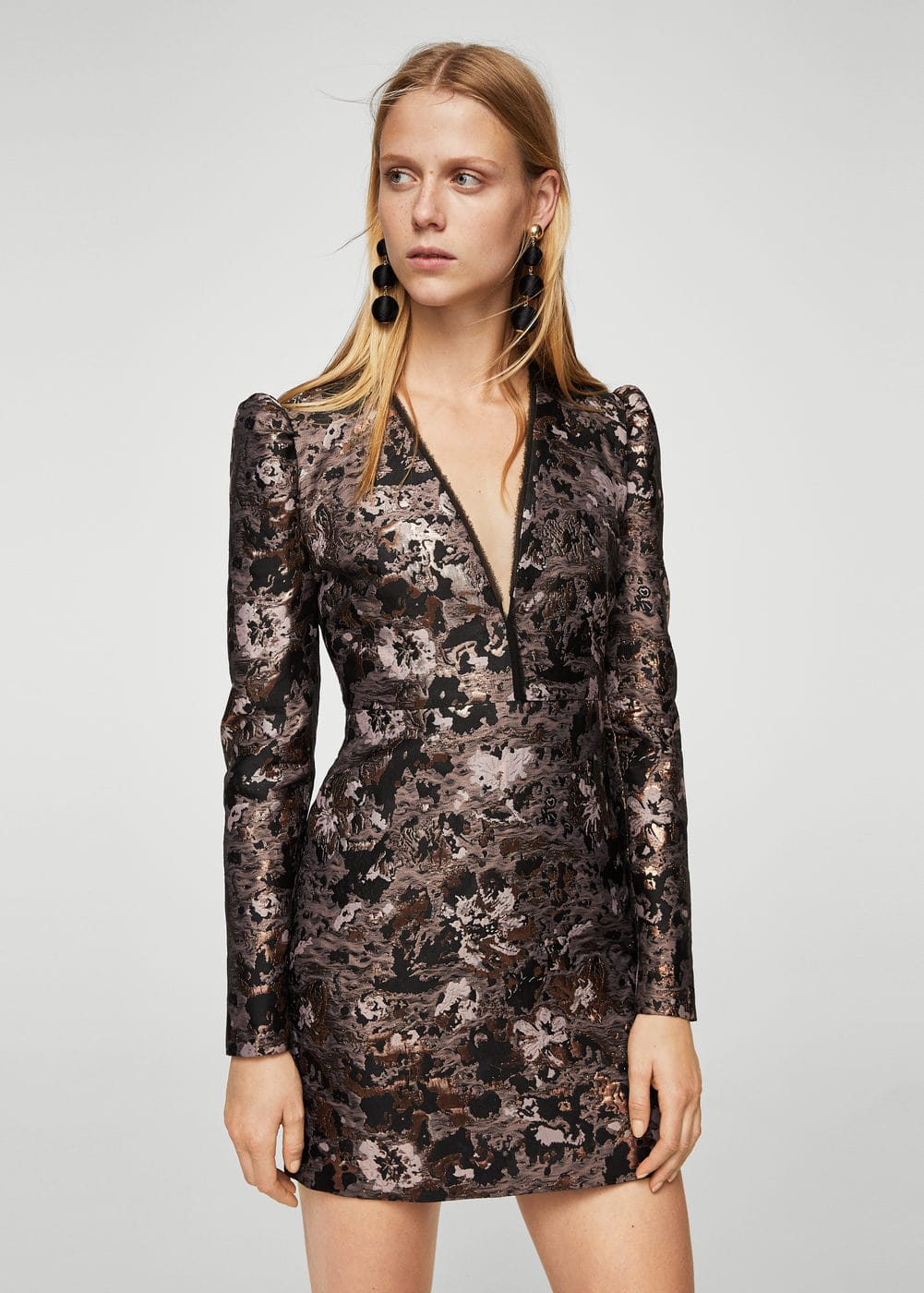Floral jacquard dress | MANGO