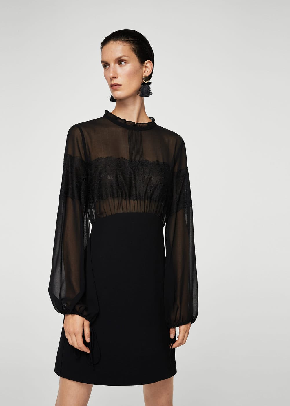 Combined lace dress  | MANGO