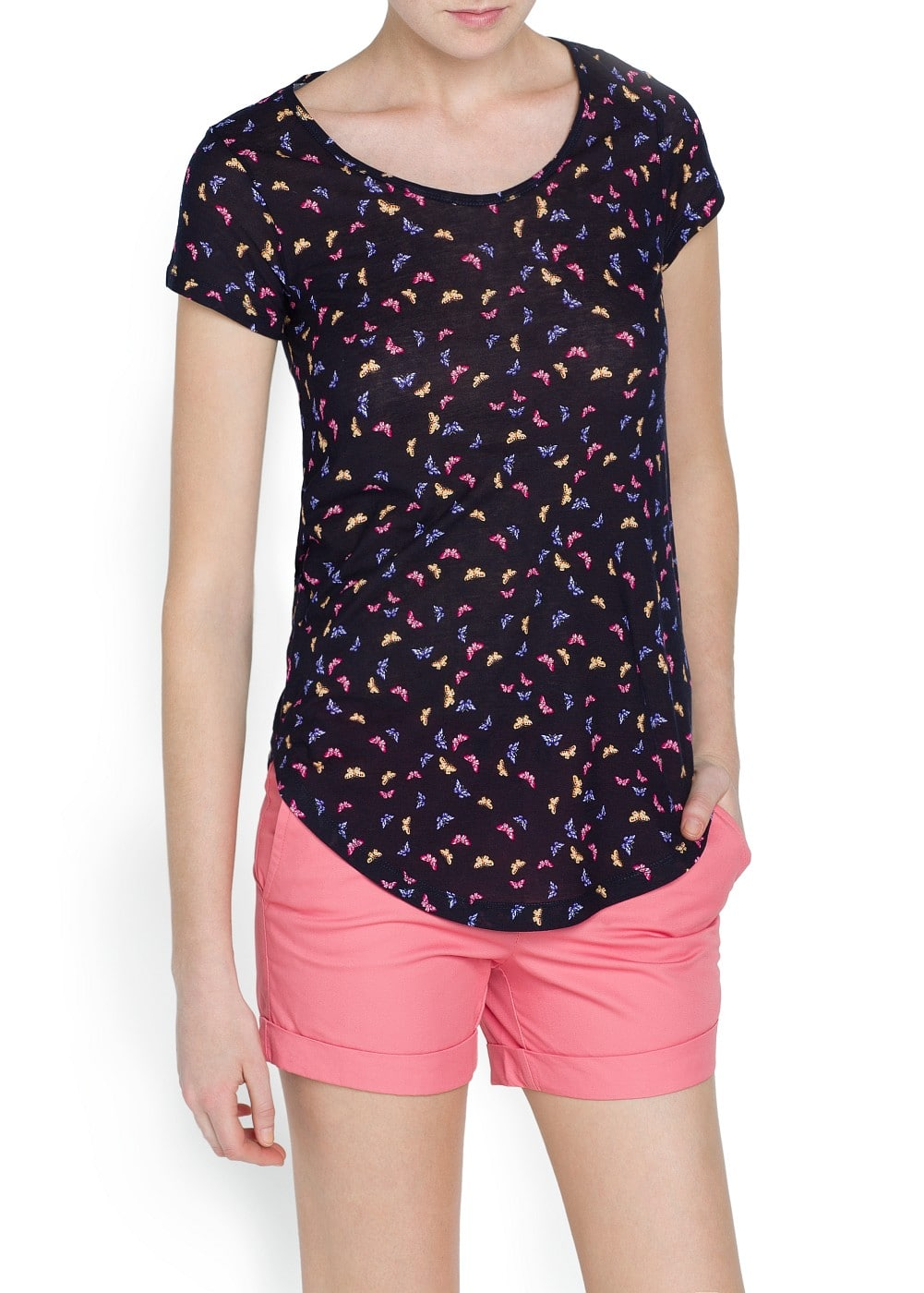 Butterfly print cotton t-shirt | MANGO