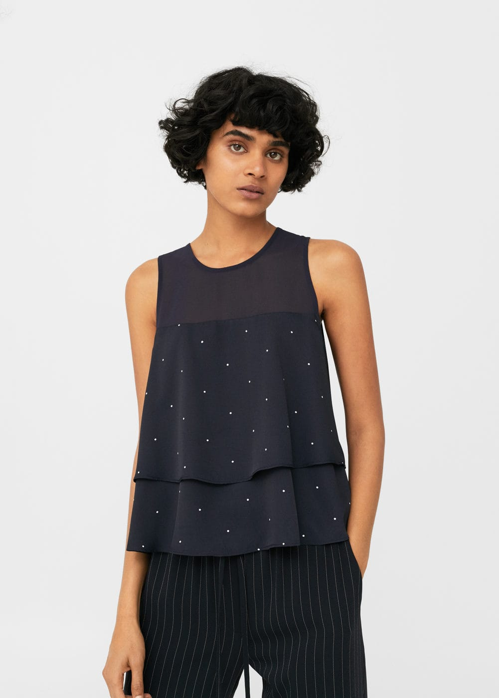 Polka-dot double-layer top | MANGO