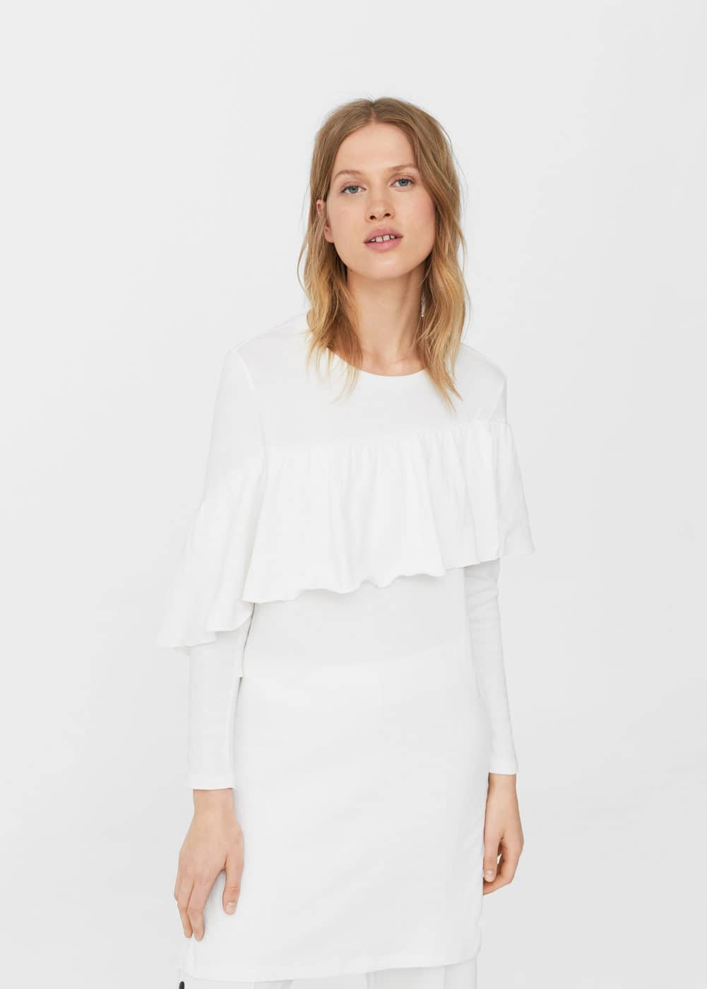 Ruffle long t-shirt | MANGO