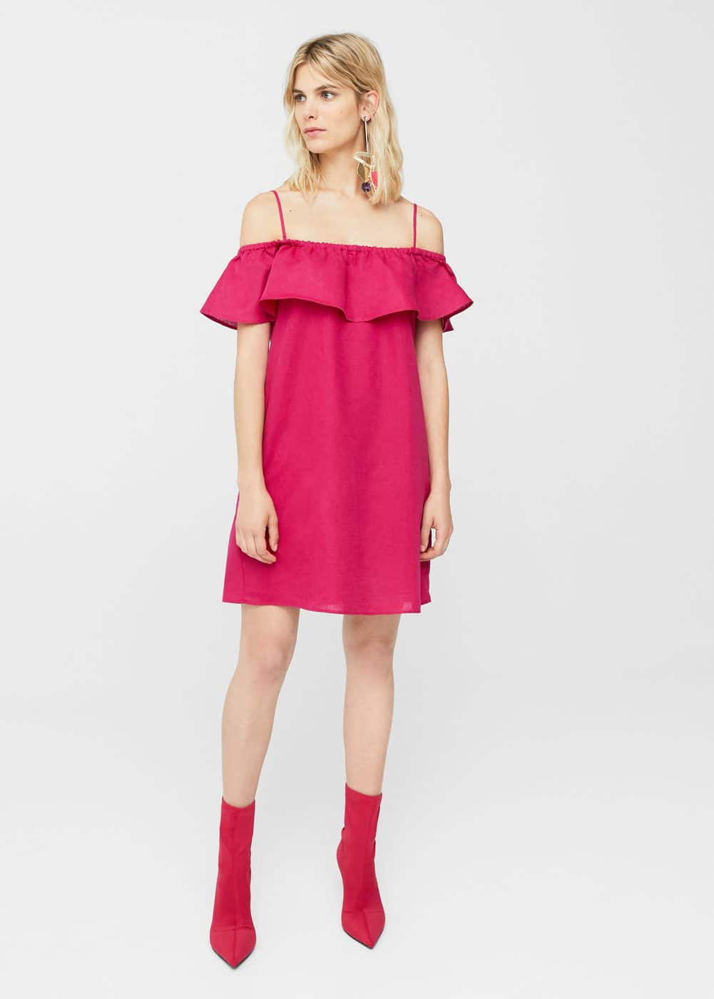Vestit off-shoulder volants | MANGO