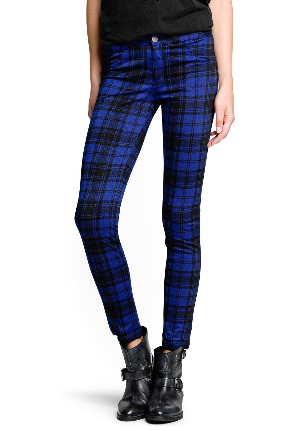 Plaid elastic trousers | MANGO