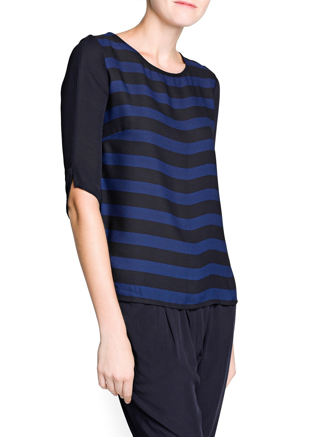 Contrast sleeve striped blouse | MANGO