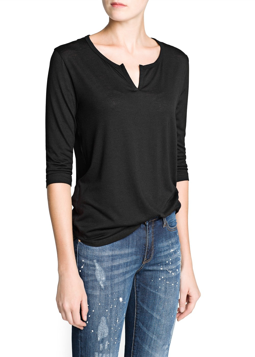 Notched neck flecked t-shirt | MANGO