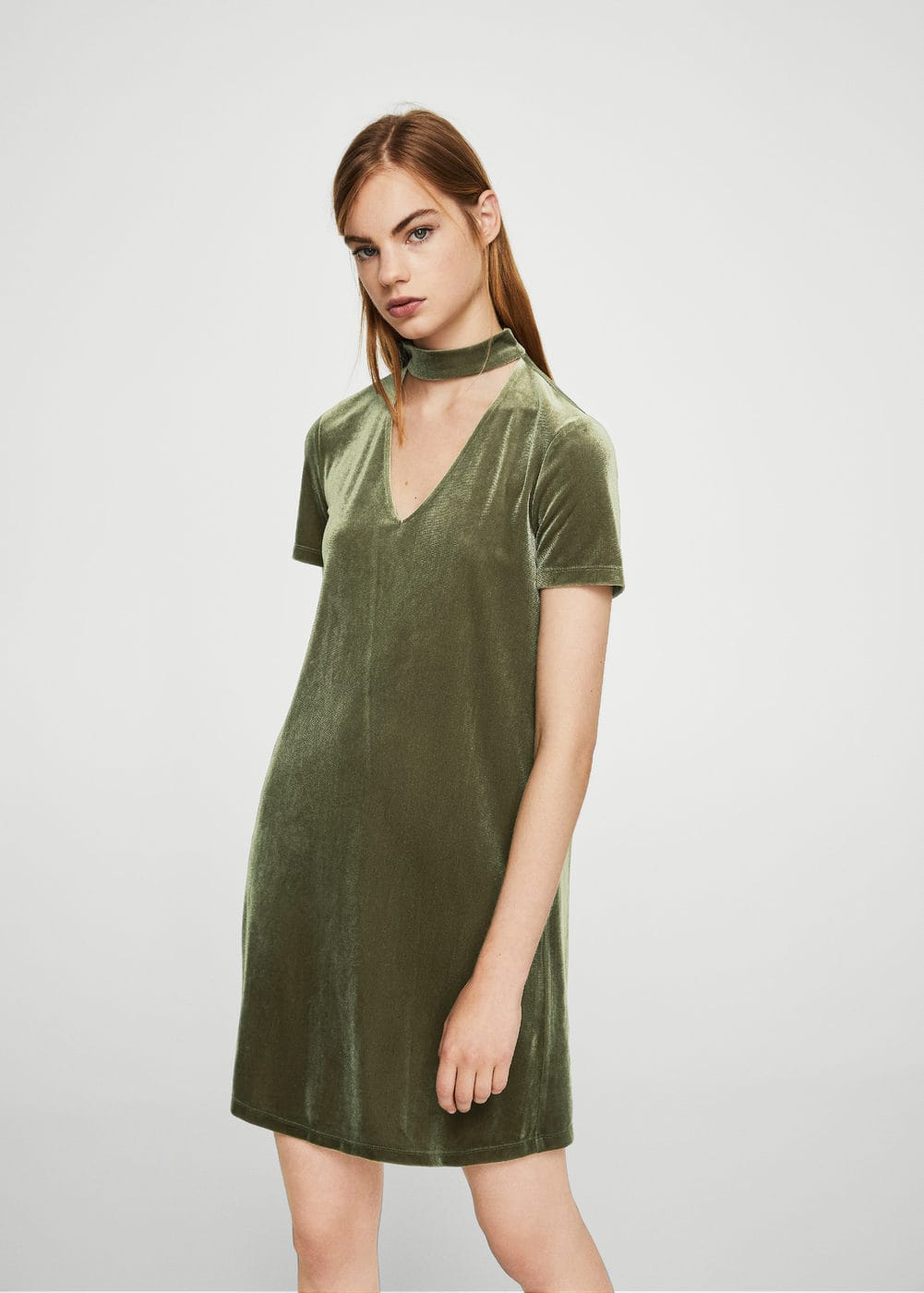 Choker neck velvet dress | MANGO