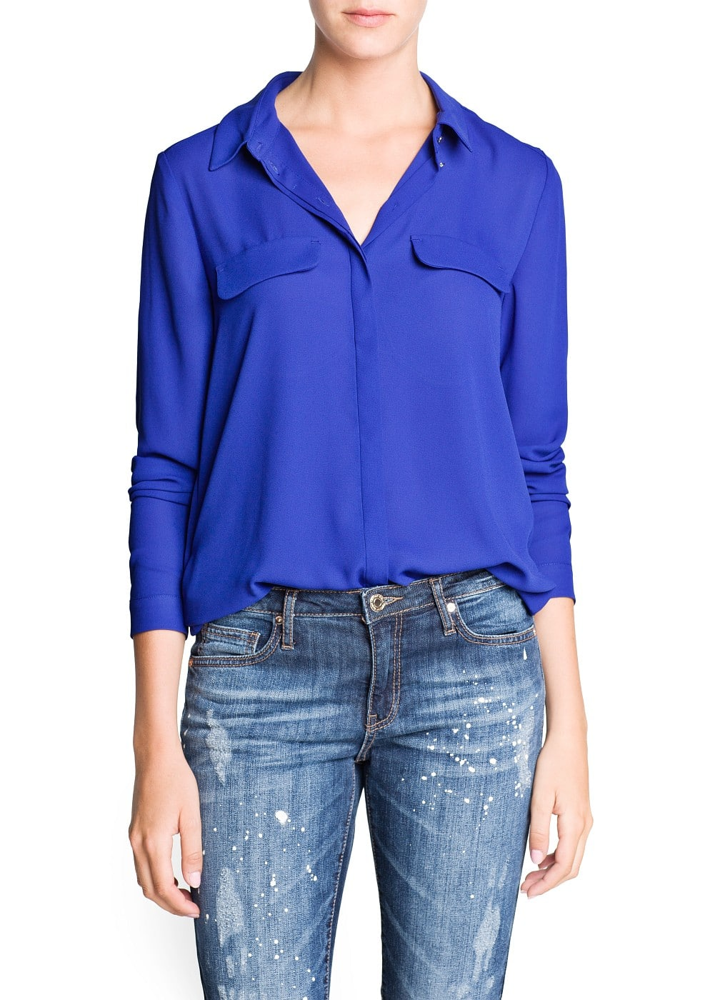 Twin flap flowy blouse | MANGO