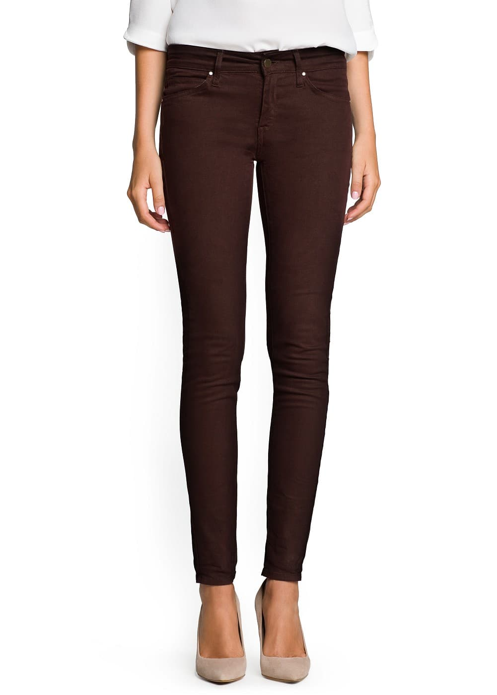 Super slim-fit brown jeans | MANGO