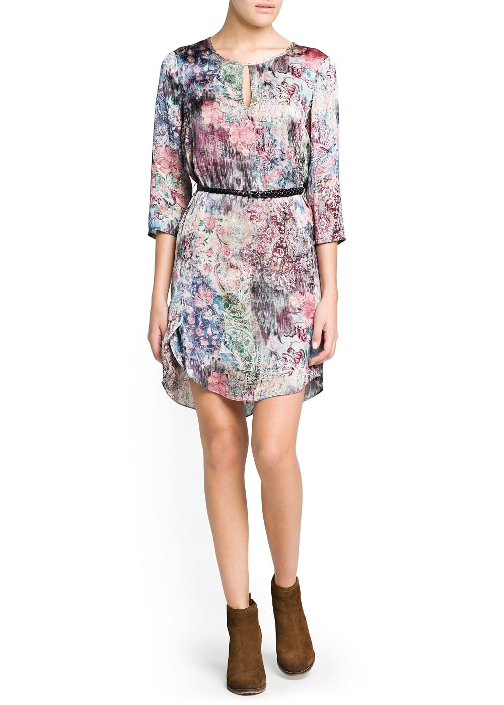 Landscape print satin dress | MANGO