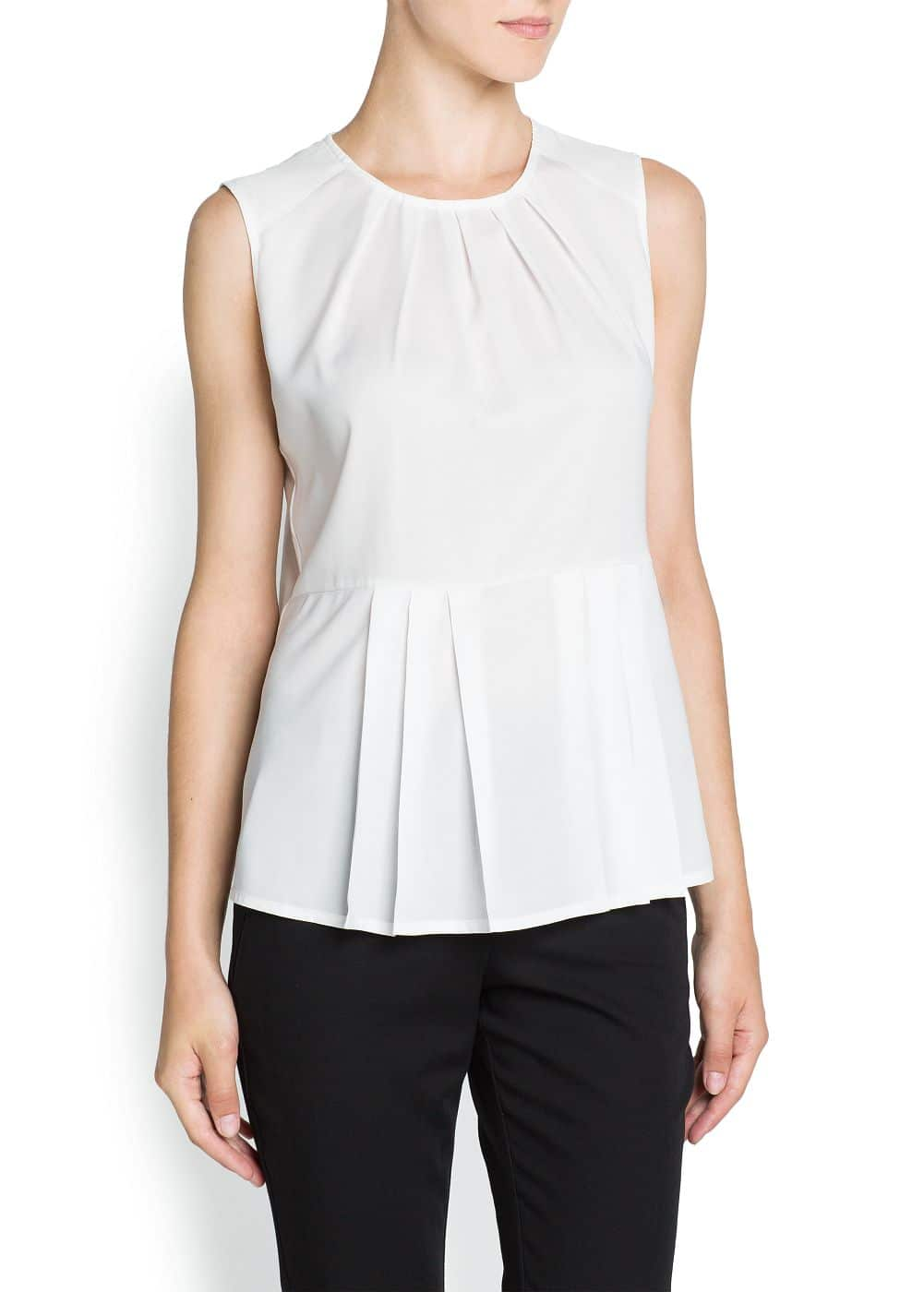 Pleated peplum top | MANGO