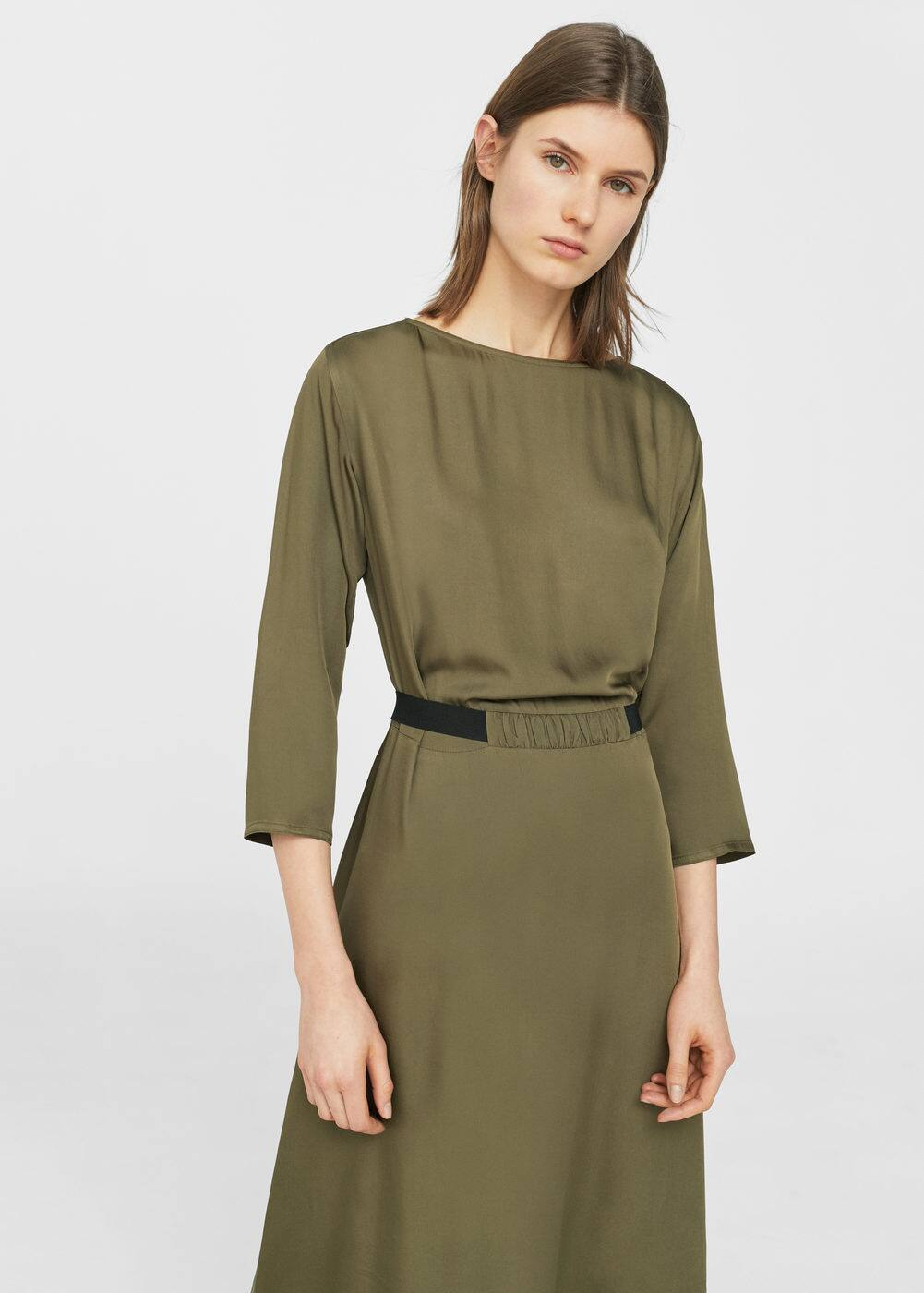 Contrast waist dress | MANGO