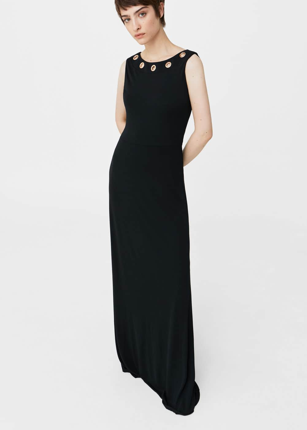 Eyelets neckline dress | MANGO